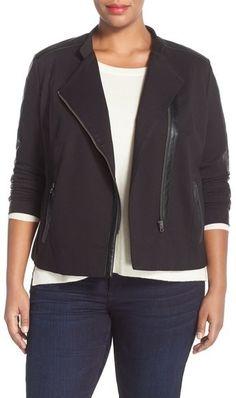 I like moto jackets.   NYDJ Faux Leather & Ponte Knit Moto Jacket (Plus Size)