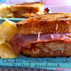 Chicken Grilled Sandwich Lunch today, October 19, 2016 Lunch today, September 18,2015 Delicious and easy lunch , just yummy http://www.ahousewife.com/RecipeBlog/index_files/Chicken-cordon-bleu-ish-grilled-sandwich.html