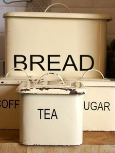 Vintage 1950s Painted Metal Bread Bin and Storage Tins