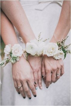 Classic White Roses - These Wrist Corsages Will Make You Rethink Bouquets at Your Wedding - Photos