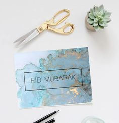 Just in time for Eid Al-Adha 2017! Make your family and friends feel loved and special this Eid with one of our greeting cards! This blue/gold tone marble print graphic greeting card is ready for download and printing, you will receive two files for download (A4 and A5) - the inside has been left blank to maximise the amount of room for whatever you wish to write (or draw) to your family and friends this eid (the possibilities are endless). We recommend when printing to choose the bor...