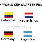 Here we are sharing with you the list of those 2014 FIFA World Cup Teams which have qualified for the 2014 FIFA World Cup Quarter-Finals. Four Matches will be played in 2014 FIFA World Cup Quarter-Finals in between the 8 Teams of 2014 FIFA World Cup. So...