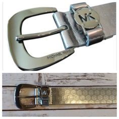 "Sliver MK belt NWT silver leather belt with MK logo stamped throughout. Silver buckle. 43"" total length. Michael Kors Accessories Belts"