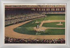 Chicago, Illinois - Comiskey Park, Home Plate, Baseball - Vintage Photograph (24x15.25 Giclee Art Print, Gallery Framed, Silver Wood), Multi