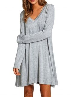 Cotton Solid Long Sleeve Above Knee Casual Dresses (1022264) @ floryday.com