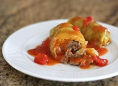 Stuffed Cabbage Rolls --   I would maybe replace the tomatoes with Cream of Mushrooms Soup.