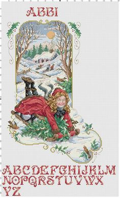 cross stitch christmas stockings with forest themes | Bygone Days Stocking Counted Cross Stitch PatternEmbroidery Christmas ...