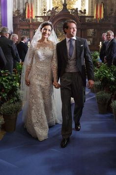 Princess Claire and Prince Felix of Luxembourg during their wedding ceremony at the Basilique Sainte Marie-Madeleine on 21 Sep2013 in France.