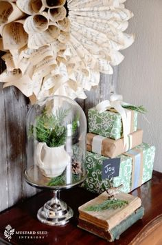 i like the wrapping and ribbon. and the neutrals tones.