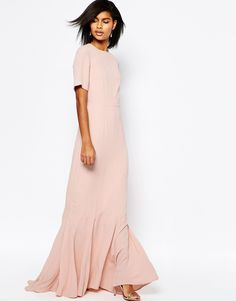 ASOS 30s Seamed Short Sleeve Fishtail Maxi Dress