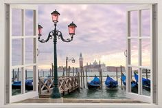 3D Wall Sticker Window Sunset on the Grand Canal in Venice /
