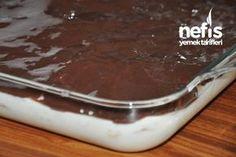 Yalancı Profiterol Tatlısı 1 paket tuzsuz etimek 1 litre süt 1 su bardağı un 1 su bardağı şeker 1 paket krem şanti 1 su bardağı süt (krem şanti için) Çikolata sosu