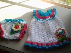 $40 Crochet baby dress & panties white blue pink by ShellyBellsCrochet