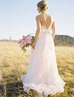 Pink wedding dress by Watters