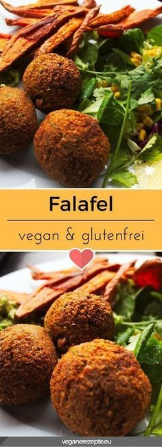 Falafel vegan and gluten free Recipe and instructions - A chickpea dream! I could eat this crispy falafel almost every day. Much more delicious than the su - Vegan Gluten Free, Gluten Free Recipes, Vegetarian Recipes, Burger Recipes, Lunch Recipes, Vegan Vegetarian, Healthy Vegan Snacks, Healthy Recipes, Fast Recipes