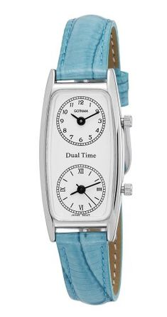 Women's Wrist Watches - Gotham Womens SilverTone Dual Time Zone Leather Strap Watch  GWC15091SBL -- To view further for this item, visit the image link.