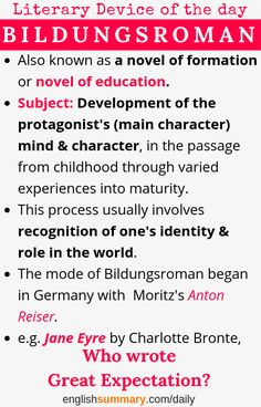 Bildungsroman Definition, Meaning, Explanation and Examples Famous Quotes From Literature, History Of English Literature, English Study, English Words, Teaching Art, Teaching Resources, Net Exam, Alphabet, Lincoln University