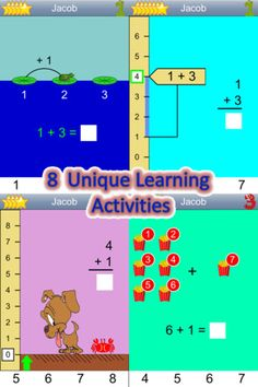 Kindergarten addition uses 8 different visual learning activities to teach and demonstrate addition in different ways
