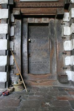 Wooden door of Yemrehanna Kristos church. Old.