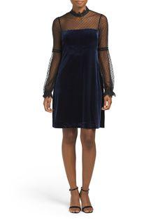 81d84fca5ccd Swiss Dot Mock Neck Velvet Dress - Velvet Shop - T.J.Maxx