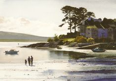 Figures on Both y Gest Beach, greeting card from an original watercolour painting by Rob Piercy