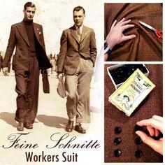 Worker's Suit, 1930s, 1940s, pure wool, tweed, gentleman, gentlemen, buttons, sewing, tailoring, bespoke tailoring.