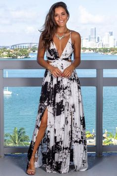 7df6ef9fff66 This Off White Marble Maxi Dress with Criss Cross Back is perfect for any  special occasion