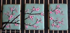Japanese Cherry Blossom Branch On Turquoise Cookie Blossom Cookies, Tree Cookies, Flower Cookies, Easter Cookies, Cupcake Cookies, Sugar Cookies, Cupcakes, Cherry Blossom Cake, Blossom Trees