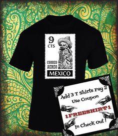 Playera con Calavera Mexicana!!! Estampilla Postal!!! Playeras con Serigrafía!!!! de ArteImMrAmA en Etsy