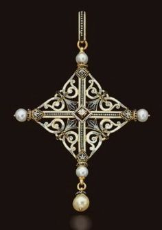 Antique Cross Pearl Pendant