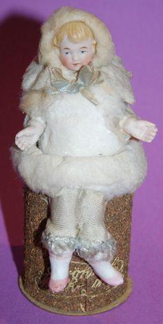vintage antique 1890's german spun cotton bisque head girl Candy Container CUTE