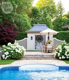 Poolside patio in the Hamptons