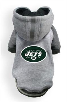 New York JETS  NFL dog Helmet Hoodie in color Athletic Gray