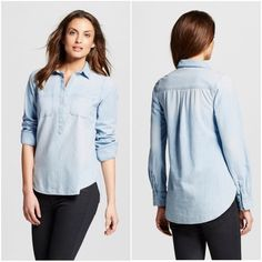 Collard Denim Top Offer $3 under list price so we can split the cost of shipping! Denim colored top w/tunic length, slits in both sides of bottom, half button up, 2 pockets at chest, long sleeved, and collar.  Super cute paired with leggings or skinny jeans! Great pre-loved condition.⭐️⭐️⭐️⭐️ ✅ASK QUESTIONS ✅Bundle ✅Offers ❌NO Trades ❌NO Off-site Transactions Tops