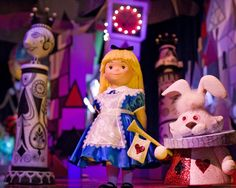 """Disneyland: Fantasyland ~ its a small world -- Alice and the White Rabbit -- Hidden Surprises in """"it's a small world"""" has Disney and Pixar Characters   Hidden Mickey Guy"""
