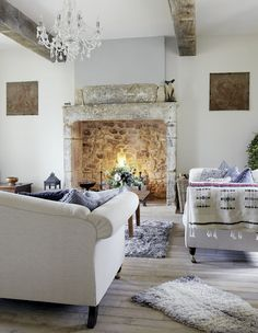 The fireplace feels upscale shabby!  Love the feel!!
