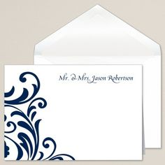 Exclusively Weddings Ever After Thank You Note. Ink color of your choice. Folded card. Bright white. Thermography. Outer envelope included.