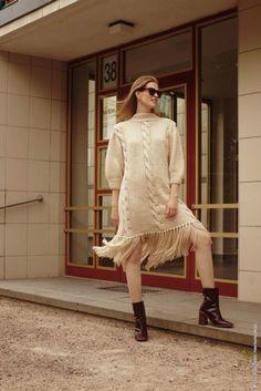 Kjole i Lala Berlin Lovely Cotton, kjøp den som strikkepakke hos HoY.no Dresses With Sleeves, Long Sleeve, Den, Berlin, Sweaters, Cotton, Fashion, Moda, Sleeve Dresses