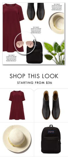 """""""Red Flare"""" by destinyqu ❤ liked on Polyvore featuring Manon Baptiste, A.P.C., JanSport and Ray-Ban"""