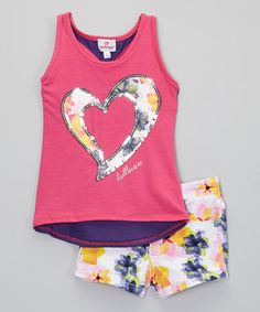 Love this Pink Floral Heart Tank & Shorts - Toddler by Dollhouse on #zulily! #zulilyfinds