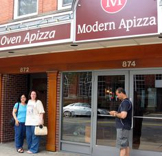Lil and Helen in front of Modern Apizza