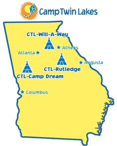 Camp Twin Lakes has three campsites: CTL-Rutledge, in Rutledge, GA; CTL-Will-A-Way, in Winder, GA; and CTL-Camp Dream in Warm Springs, GA.