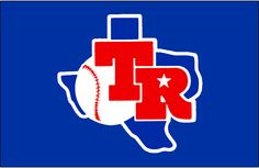 Texas Rangers Jersey Logo - TR in red on a blue state of Texas. Worn on the front of the Texas Rangers blue batting practice jersey in 1982 and 1983 Texas Rangers Logo, Rangers Baseball, Sports Baseball, Sports Logo, Mlb Team Logos, Mlb Teams, Mlb Uniforms, Cowboy Girl, Pin Logo