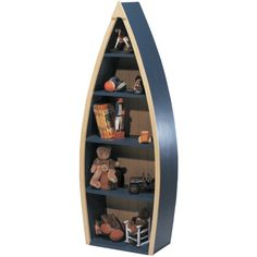 Rowboat Bookcase: we went to buy one of these...very expensive; think of all the boats we had at the cottage that would have been perfect to use...who knew!