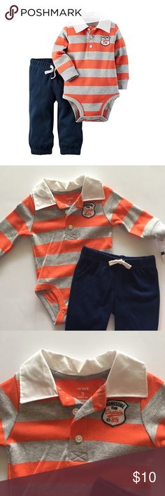 🆕Handsome Team🆕 Carter's Handsome Team polo long sleeved Onesie with coordinating cotton elastic waistband pants. NWT Carter's Matching Sets