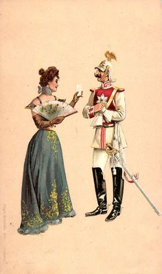 Garde du Corps Regiment officer in special Gala uniform chats with a fashionable lady circa 1890.