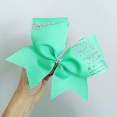 JUST DO It Mint green Cheer Bow with glitter swoosh and words! Ponytail holder attached! FREE SHIPPING!