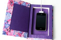 DIY: Book Cell Phone Charging Station (not a sewing project, but thought it fit this board best)