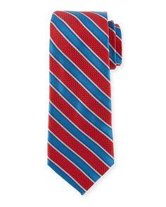 Striped Silk Tie, Red