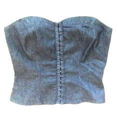 Host Pick  Lightweight Denim Bustier This looks great layered with a stylish jacket or blazer. This is a thinner, soft denim..very comfortable! Closes in front with small eyelet hooks. 75% cotton 23% polyester 2% spandex Machine washable. The last couple pictures show better color. This is a blackish denim. Bisou Bisou Tops